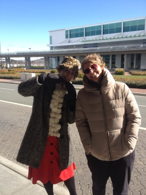 Me and the lovely Bertie Page at the (chilly) Canberra Airport