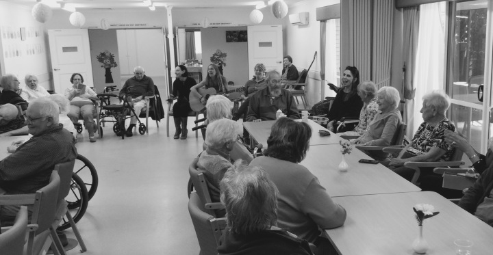 Us women performing songs with the lovely folk at Pinaroo Retirement Village
